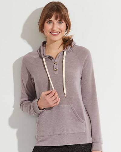 Exclusive Button Neck Hoodie in Purple Heather