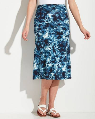 Long Skirt in Blue and Navy Tie Dye