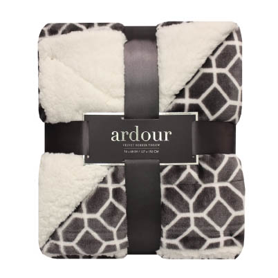 Ardour Grey and White Geometric Velvet Berber Throw