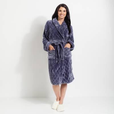 Diamond Quilted Velvet Plush Bath Robe