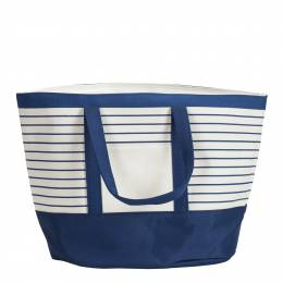 Northpoint Trading Insulated Canvas Beach Cooler Tote in Blue and White Stripes
