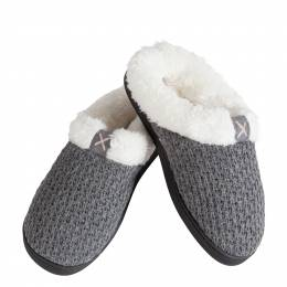 Ike Behar Women's Knit Sherpa Fleece Slippers in Grey