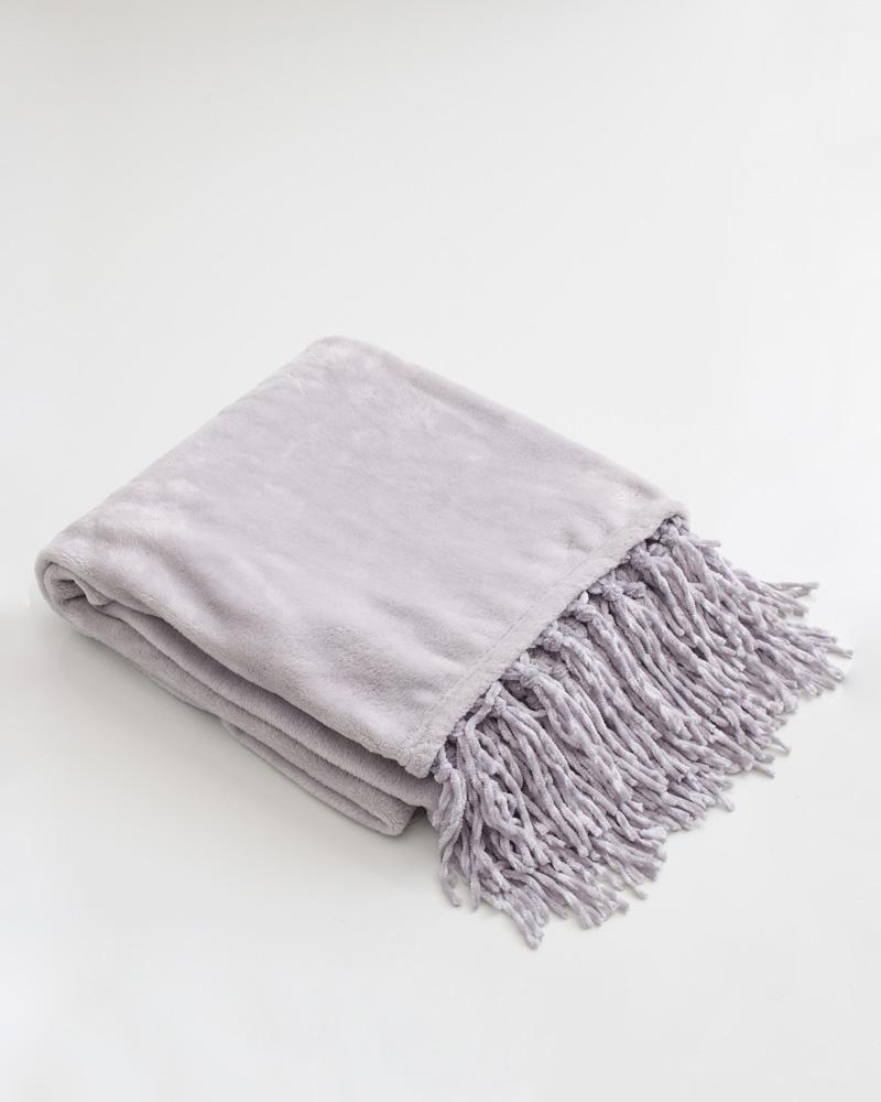 Legacy Main Fringe Fleece Throw Blanket In Light Grey The Paper