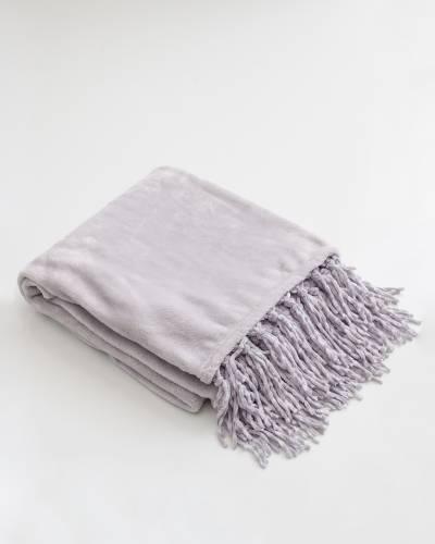 Fringe Fleece Throw Blanket in Light Grey