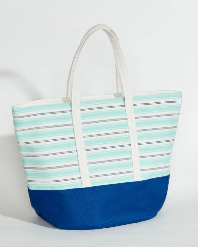 Insulated Cooler Tote in Mint and Navy Stripe