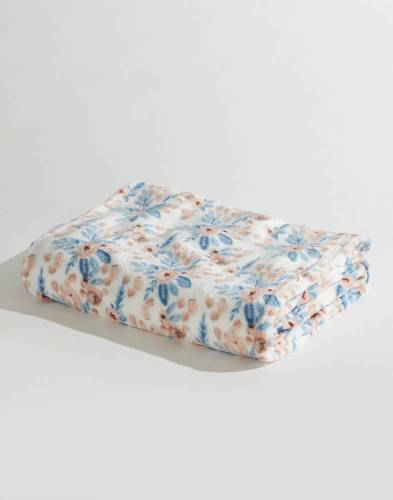 Luxury Velvet Floral Throw in Blue and Peach