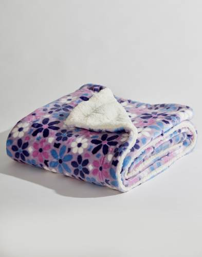 Exclusive Purple Floral Luxury Sherpa Throw