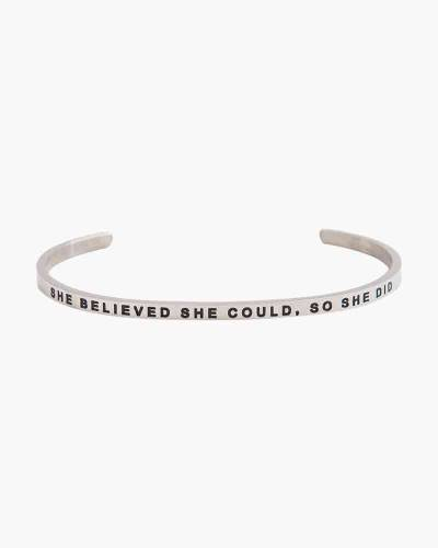 She Believed She Could Silver Bracelet