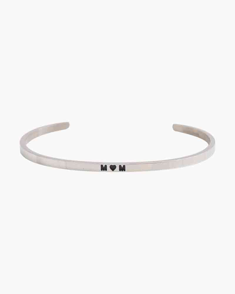 Mantraband Exclusive Heart Mom Silver Bracelet