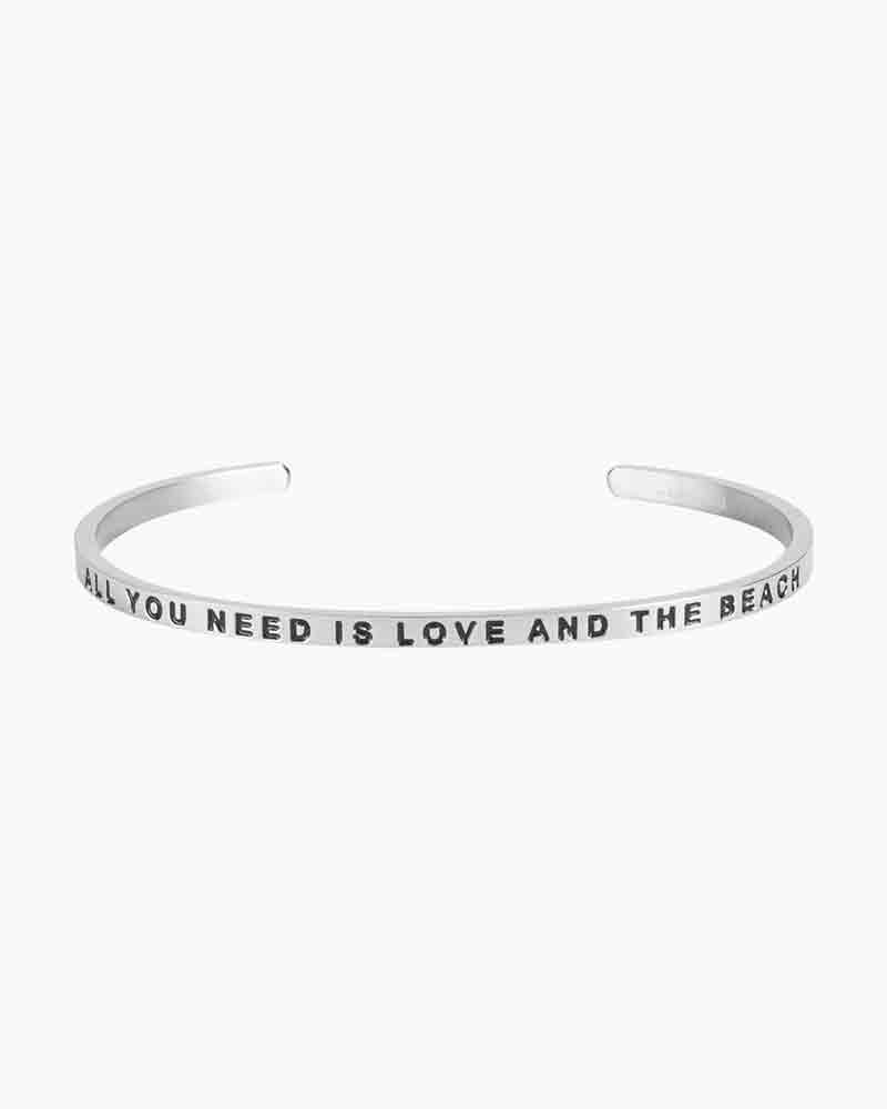 Mantraband Exclusive Love and the Beach Silver Bracelet