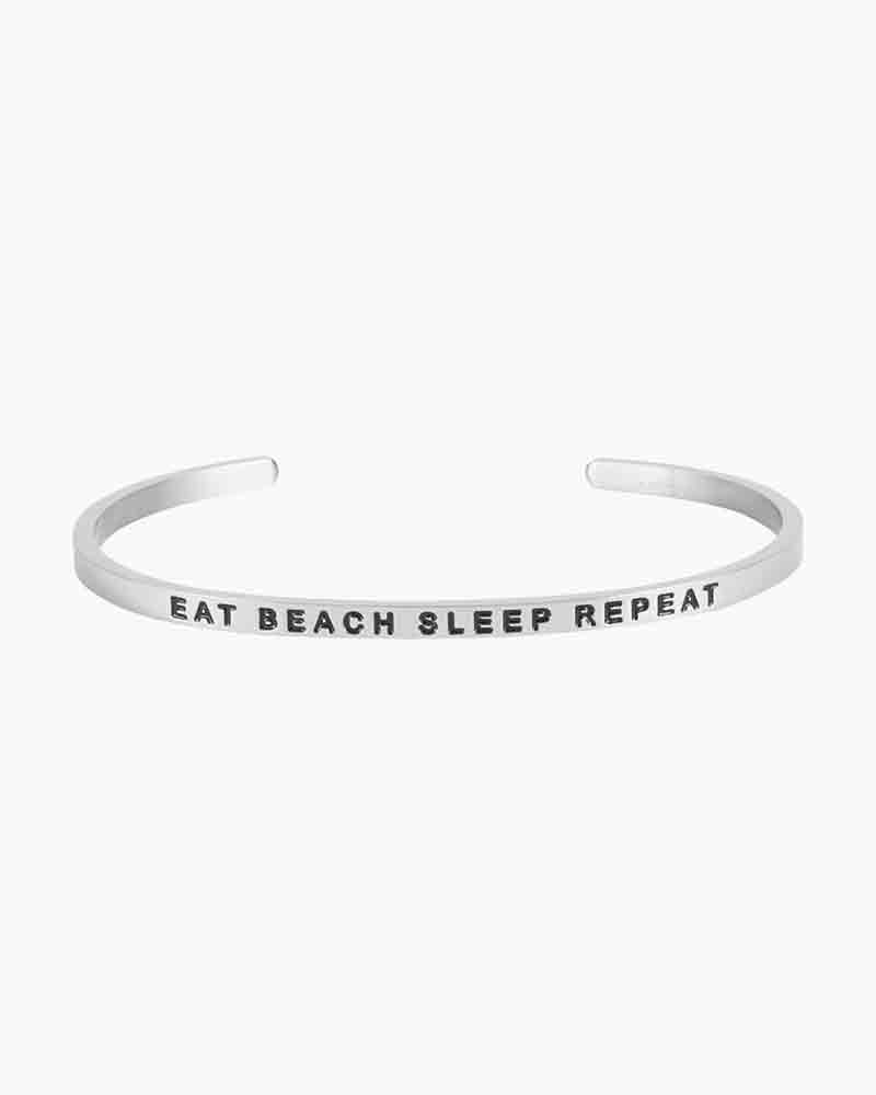 Mantraband Exclusive Eat Beach Sleep Silver Bracelet