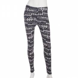 Shosho Black and White Arrow Mosaic Print Leggings