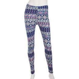 Shosho Blue and Pink Mosaic Print Leggings