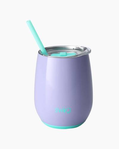Periwinkle 14 oz. Stemless Wine Cup and Straw