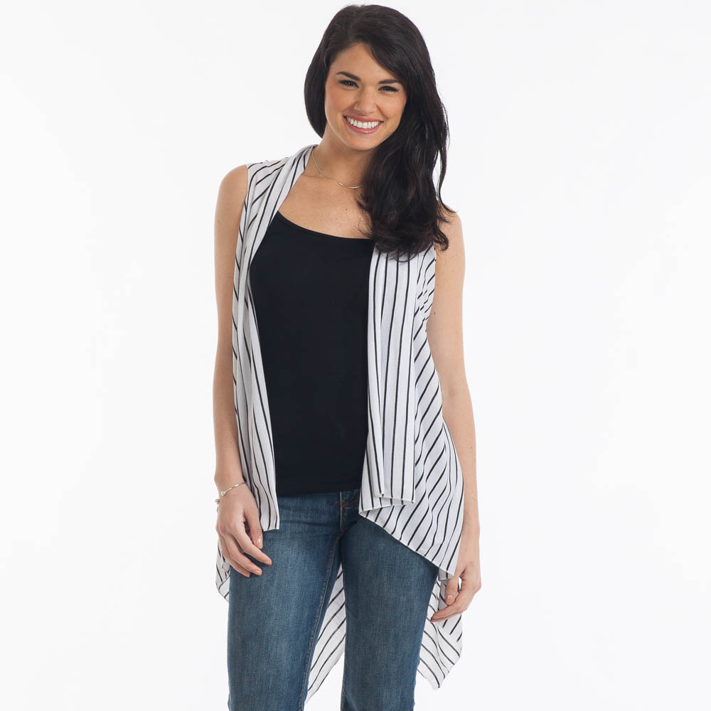 Open Front Vest in White with Black Stripes