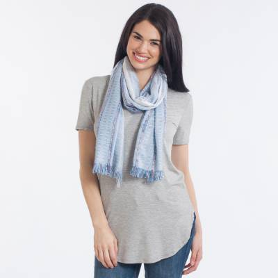 Striped Woven Scarf in Blue