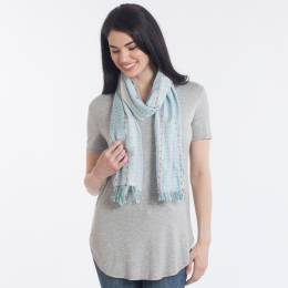 Elegant Essence Striped Woven Scarf in Green
