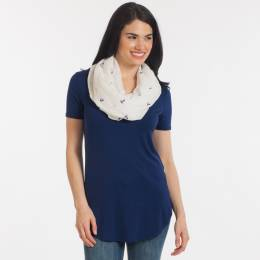 Elegant Essence Navy Blue Anchor Pattern Infinity Scarf