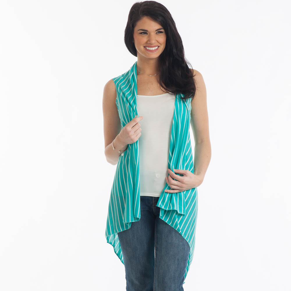 Open Front Vest in Mint with White Stripes