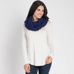 Elegant Essence Chunky Open Weave Infinity Scarf in Navy