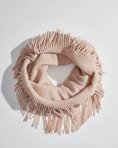 Sparkle Fringe Infinity Scarf in Pink