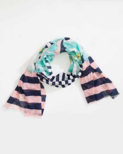 Sheer Striped Floral Scarf in Pink