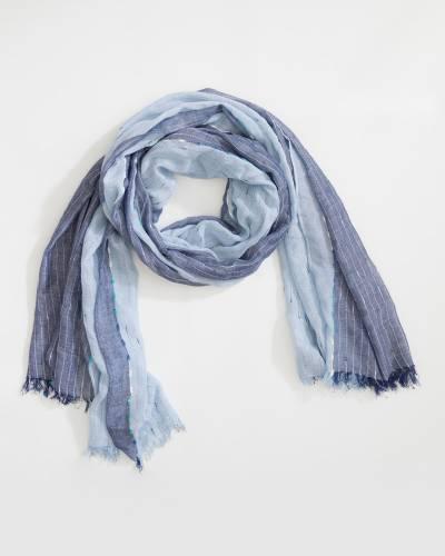 Two-Tone Slub Knit Scarf in Navy Blue