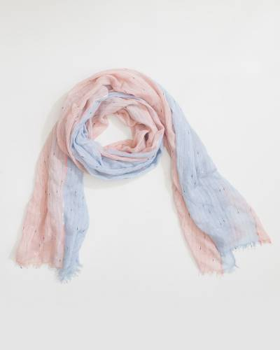 Two-Tone Slub Knit Scarf in Blue and Pink
