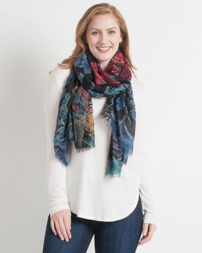 Abstract Floral Scarf in Black