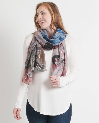 Abstract Floral Scarf in Grey
