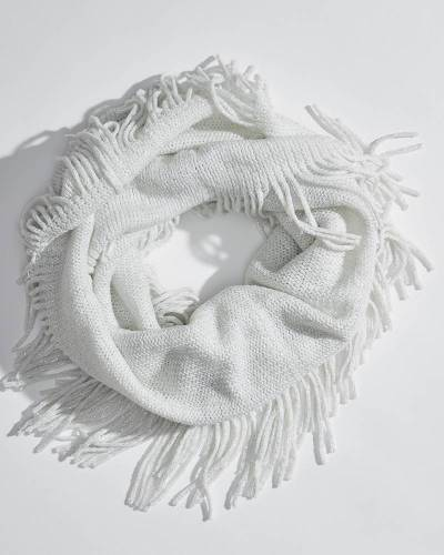 Sparkle Fringe Infinity Scarf in White