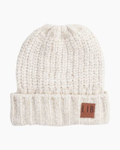 Chenille Knit Hat in Ivory
