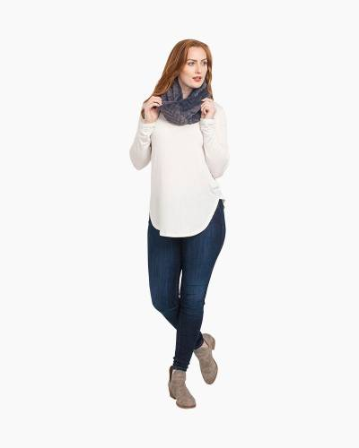 Gray Textured Faux Fur Infinity Scarf