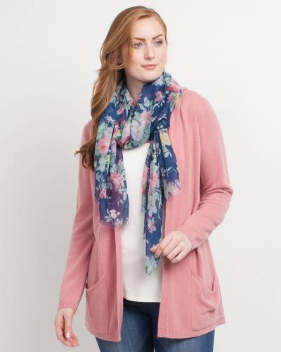 Exclusive Floral Scarf in Navy