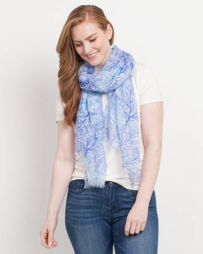 Exclusive Coral Print Scarf in Blue