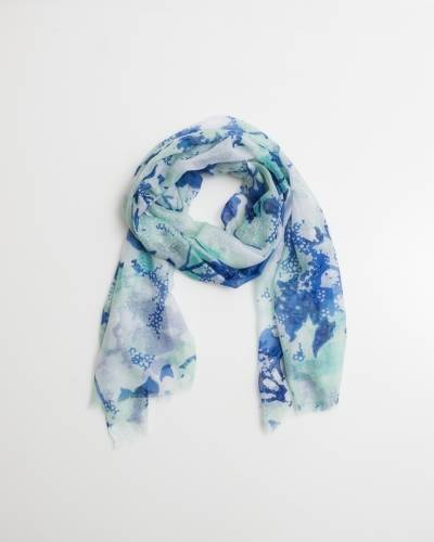 Exclusive Mint and Blue Floral Scarf
