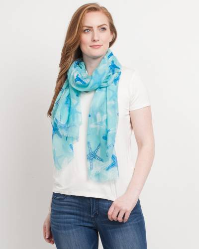 Exclusive Starfish Print Blanket Scarf in Mint