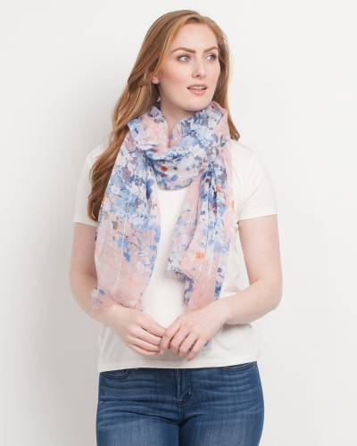 Exclusive Floral Sequin Scarf in Blue and Pink