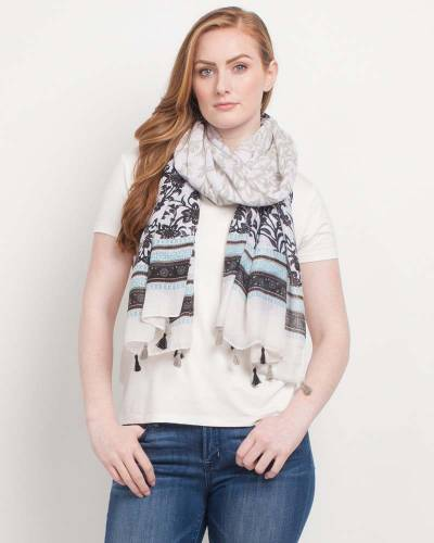 Exclusive Floral Border Print Scarf in Black and White