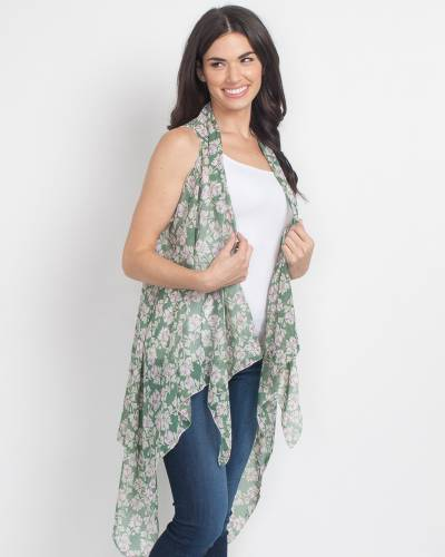 Exclusive Green and White Floral Vest