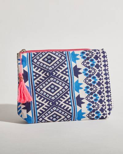 Exclusive Canvas Tribal Pouch in Blue and Navy