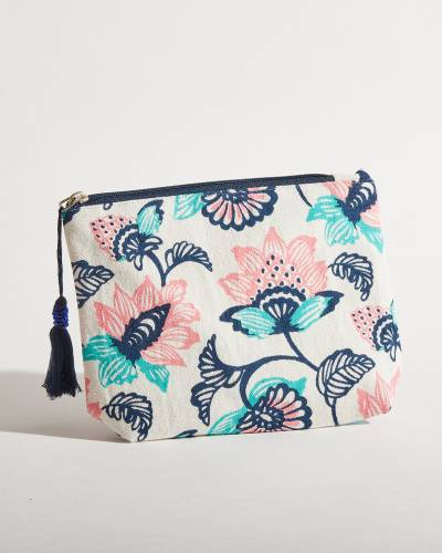 Exclusive Canvas Floral Pouch in Blue and Pink