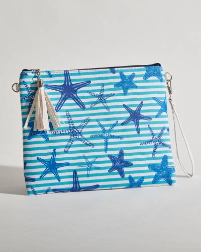 Exclusive Striped Starfish Crossbody in Teal and Navy