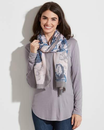 Floral Print Solid-Border Scarf in Pink and Blue