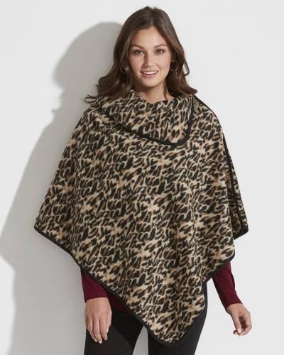 Exclusive Split-Neck Poncho in Leopard Print