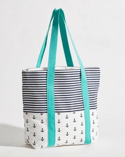Nautical Mix Print Beach Tote Bag