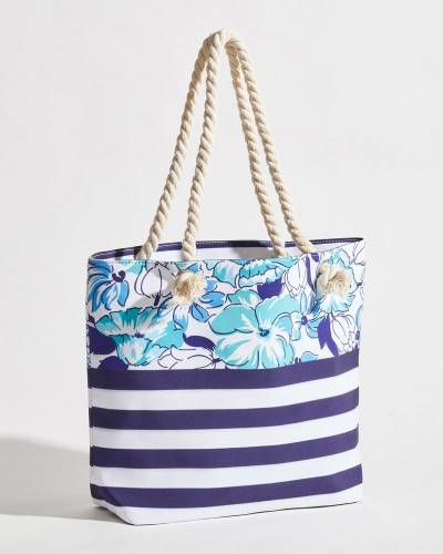 Tropical Floral and Stripe Rope Handle Beach Tote