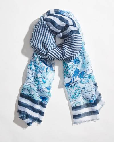 Tropical Mixed Print Striped Scarf in Mint
