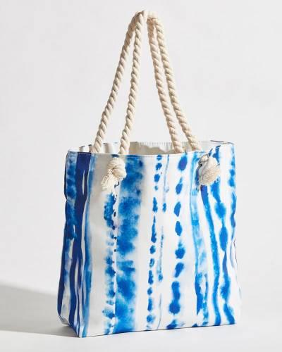 Rope Handle Blue Tie Dye Tote Bag