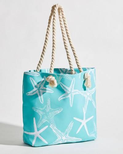 Starfish Print Rope Handle Tote in Mint